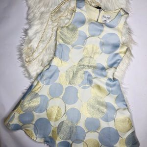 Blush US Angels Blue Ivory Gold polka Dot Dress